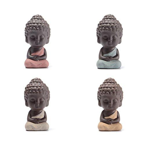 VORCOOL 4 Stücke Mini Buddha Fengshui Figur Tee Tray Teezeremonie Zubehör Auto Ornament Tischdeko(Zufällige Kleidungsfarbe)