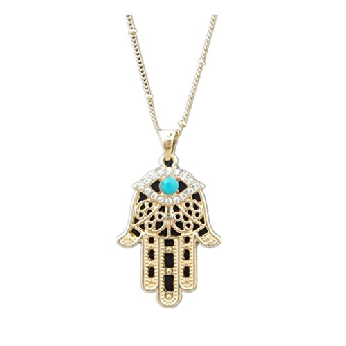 Encanto Turquesa Mal Mano Ojo Del Hamsa Fatima Collar De La Joyeria Colgante De Oro