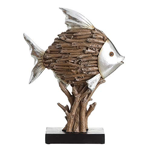 Rustic Resin Brown Fish Figure for Factory Living Room - LOLAhome