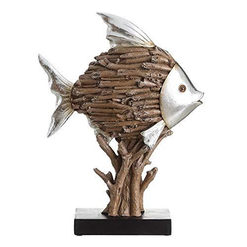 Figura de pez marrón de Resina rústica para salón Factory - LOLAhome
