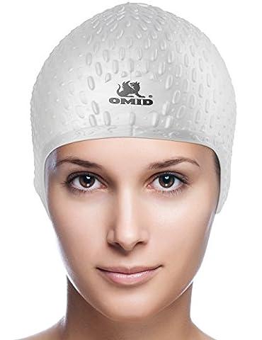 Omid Damen Badekappe–langlebig Premium Silikon für lange/mittel Haar, Tropfenform Bubble Crepe Anti-Rutsch-Design zu reduzieren Wasser Reibung, silber