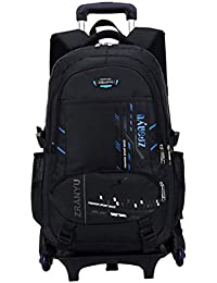 d27013069f Di Grazia Black 2 in 1 Convertible Removable Waterproof School College  Laptop Luggage Backpack Trolley Rolling
