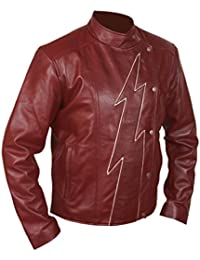F&H Mens Flash Season 2 Jay Garrick Teddy Sears Genuine Leather Jacket