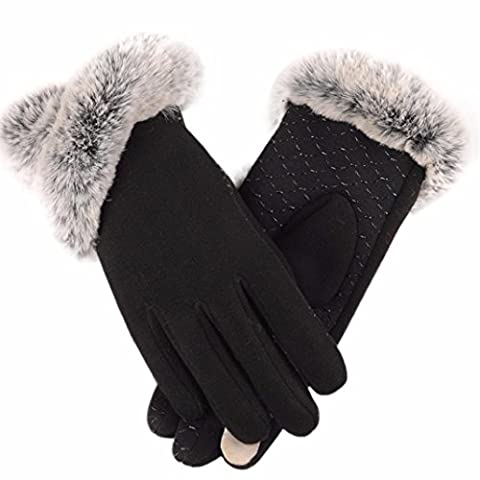 TPulling Mode Womens Weiches Und Angenehmes Temperament Herbst- Und Winter-Touchscreen-Strick Plus Plain Ball Warm Handschuhe (Schwarz)