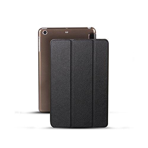 Smart Cover Case mit Sleep/Wake-Up Funktion PU Leder zusammenklappbar Spiegeln Schutz Muscheln Seide Muster ultradünne Schutzhülle mit Ständer für iPad 6/Air 2 Schwarz (Seide-set 6)
