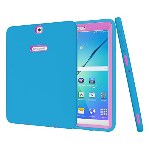 Galaxy Tab S29,7Case, beimu 3in 1Stoßfest Heavy Duty Rugged Hybrid Armor Defender Schutz Cover für Samsung Galaxy Tab S224,6cm sm-t810/T815/t813N/t819N, 9.7 inches, Blue+Rose (Samsung Tablet Tasche Griffin)
