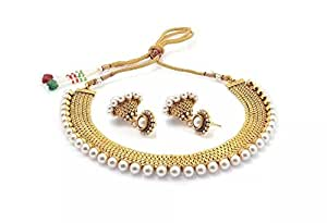 YouBella Pearl Temple coin Traditional Necklace set for women party wear Jewellery set with Earrings for Women