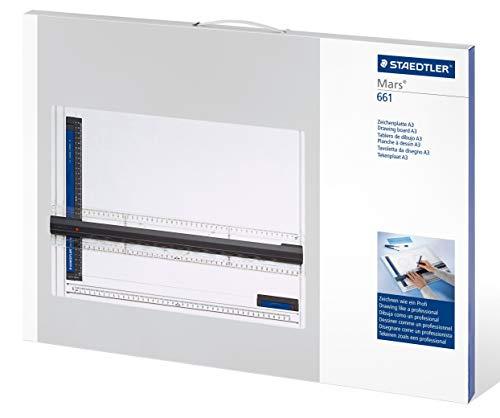 Staedtler Mars 661 A3 Zeichenplatte, DIN A3, hohe Qualität, aus schlag- und bruchfestem Kunststoff, Parallel-Zeichenschiene, Doppelnutführung, weiß