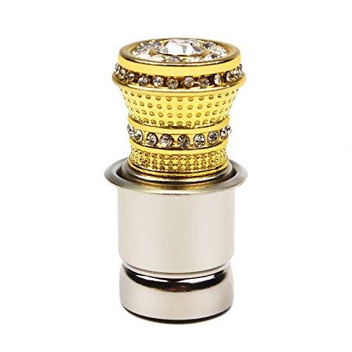 SKS Distribution® Luxus Aluminium Auto Zigarettenanzünder mit kleinen Kristall Strass Golden Auto Zubehör -