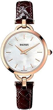 ساعة بالمن للنساء بمينا فضي وسوار جلدي - B47797286، بعرض انالوج