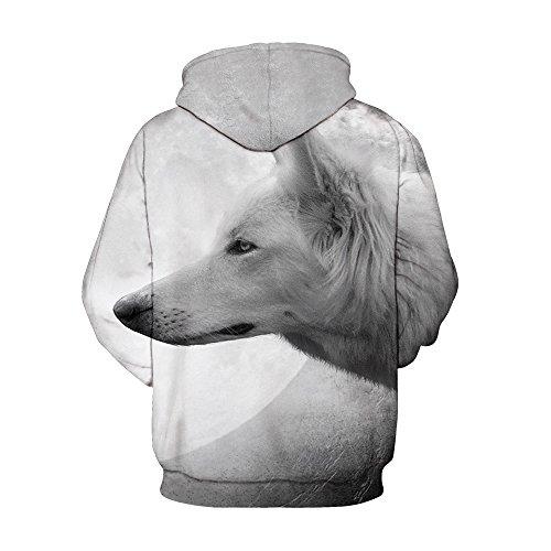 Herren Digitaldruck Kapuzenpullover Tops Fashion Hoodie Pullover Hooded Sweatshirt Wolf C