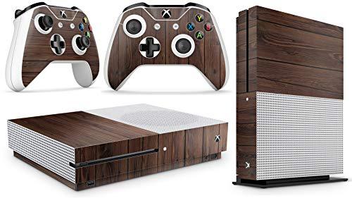 giZmoZ n gadgetZ GNG Xbox One S Konsolen-Gehäuseaufkleber, Motiv: Wood inklusive 2er-Set mit Aufklebern für Controller