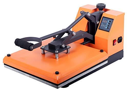 RICOO T138-GS Transferpresse Textilpresse Textildruckpresse Klappbar Thermopresse Transferdruck Bügelpresse Textil T-Shirtpresse Sublimationspresse für Flexfolie und Flockfolie/Orange
