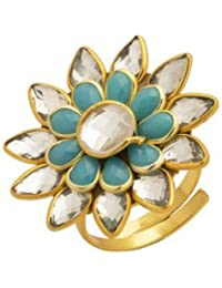 Voylla Traditional Gold Brass Ring Gift Women