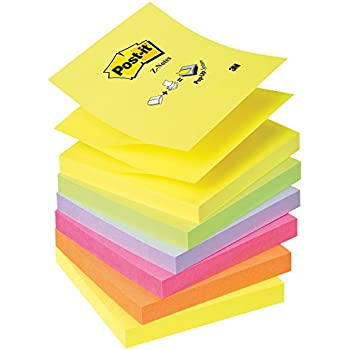 Post-it Z-Notes - One each of Neon Rainbow Yellow, Green, Purple, Pink, Orange - 100 Sheets Per Pad - 76 mm x 76 mm (Set of 6)