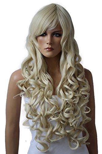 Prettyshop, parrucca con capelli biondi lunghissimi e lisci da 90cm, resistente al calore, in fibra sintetica, simile ai capelli veri, per cosplay, spettacoli, teatro, feste e molto altro ancora