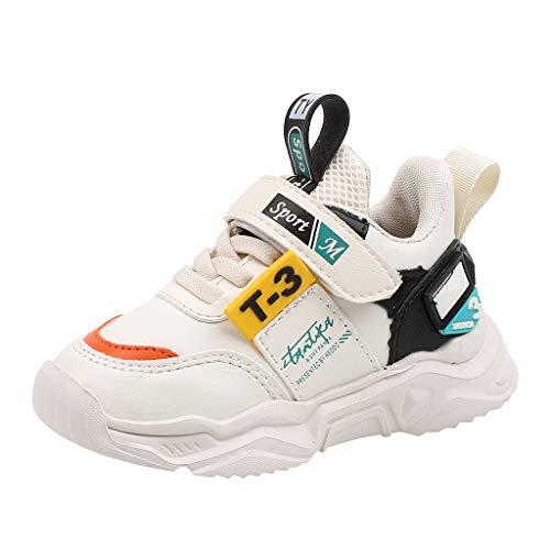 Rokoy Sneakers Bambini/Stivaletti per Ragazza - Scarpe per Correre Running Corsa Sportive Trail Trekking Scarponi Fitness Casual Elastiche Stivali -Scarpe da Ginnastica Unisex(27,Bianca)