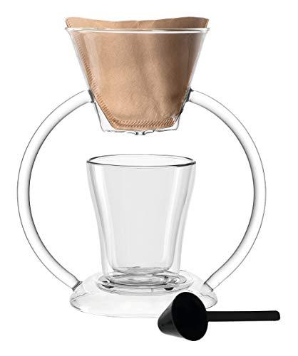 Leonardo Duo Kaffeebereiter, 2-teiliges Set, 250 ml, handgefertigt, hitzebeständiges Glas, 029764