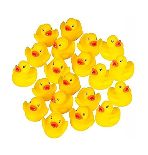 20x Milopon Gummiente Quietsche Ente gelb Quietscheente Badeente Bade Ente Enten Badeenten Gummienten für Baby Dusche Spielzeug 3.8*4*3.5cm