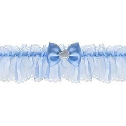 Liga azul con un pequeño lazo y corazón para la novia