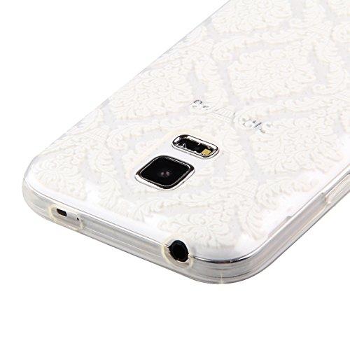 Coque pour iPhone 5C, Etui pour iPhone 5C, ISAKEN Transparente Ultra Mince Souple TPU Silicone Avec Blanc Dessin Etui Housse de Protection Coque Étui Case Cover pour Apple iPhone 5C (Ananas Blanc) Fleur H8