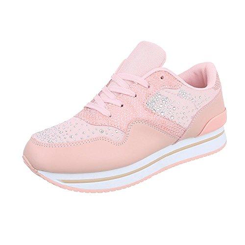 Scarpe da donna Sneaker piatto Sneakers low Ital-Design Rose