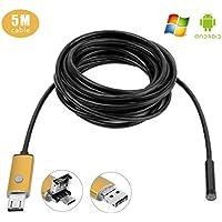 GVESS 2in 1 7mm 5M OTG Android e PC 6 LED HD del periscopio dell'endoscopio macchina fotografica di controllo USB Wire impermeabile (Oro)