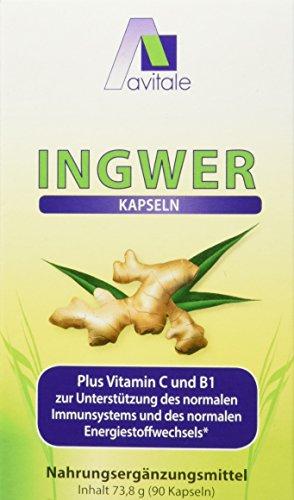 Avitale Ingwer 500 mg Kapseln + Vitamin B1+C, 90 Stück, 1er Pack (1 x 74 g)