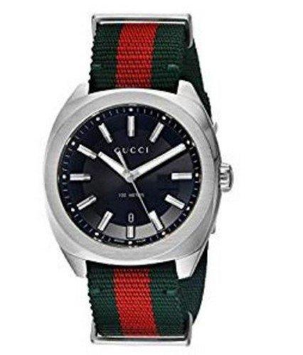 Reloj Gucci Hombre ya142305al cuarzo (batería) acero quandrante negro correa tela