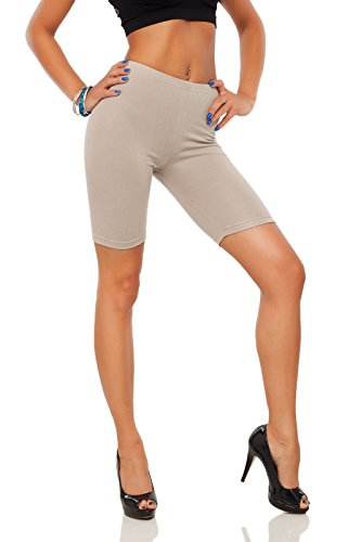 Futuro Fashion Baumwollleggings 1/2 Länge Overknee Shorts Active Sport Freizeithose LK - Beige, Damen, 36 (Damen Active Shorts)