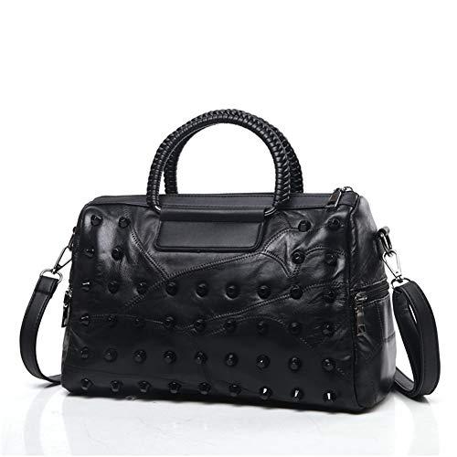 HAIMEI-WU Lammfell-Handtasche Damen Schultertasche Messenger Bag gewebte Nietentasche Schwarz Clutch Crossbody Bag Lady Bag, Leder, Black-b, M -