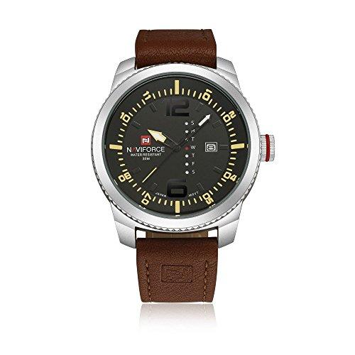 Gute pour homme décontracté Montre-bracelet à quartz avec cadran noir Affichage analogique et bracelet cuir Marron Argenté/noir