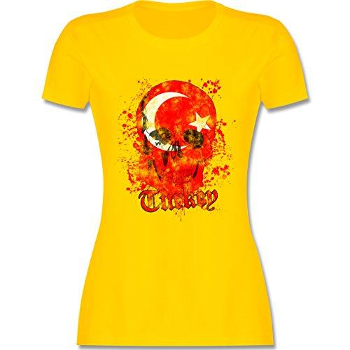 EM 2016 - Frankreich - Turkey Schädel Vintage - tailliertes Premium T-Shirt mit Rundhalsausschnitt für Damen Gelb