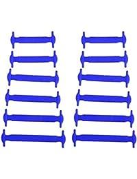 Linyena 12 pièces en silicone pour enfants sans élastique sans cravate Accessoires (Bleu)