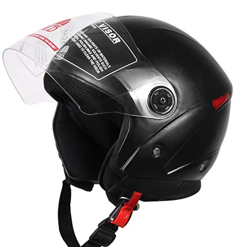 JMD HELMETS OPEN FACE BLACK (59cm) Size-STARDED with Anti Pollution Mask