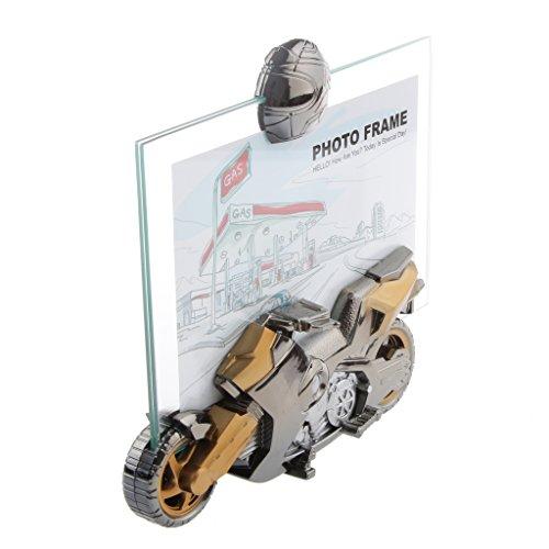MagiDeal Motorrad Wecker mit Bilderrahmen Tischuhr Quartzuhr 15x10.5cm perfekte für Haus Dekoration