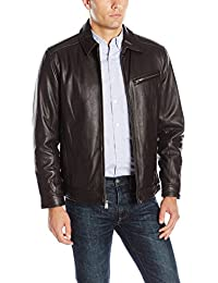 Boston Harbour Men's James Dean Leather Bomber with Shirt Collar