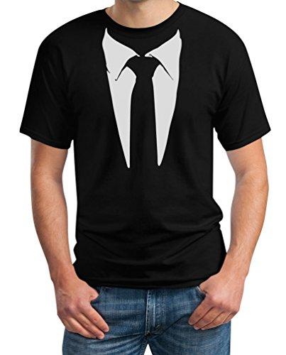 Anzug/Legendäre Stinson Krawatte Barney - Tuxedo Kostüm Party Schwarz Large T-Shirt (T Shirt Mit Anzug)