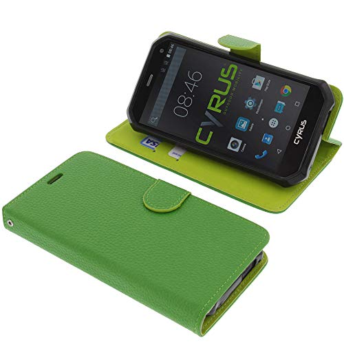 foto-kontor Tasche für Cyrus CS24 Book Style grün Schutz Hülle Buch