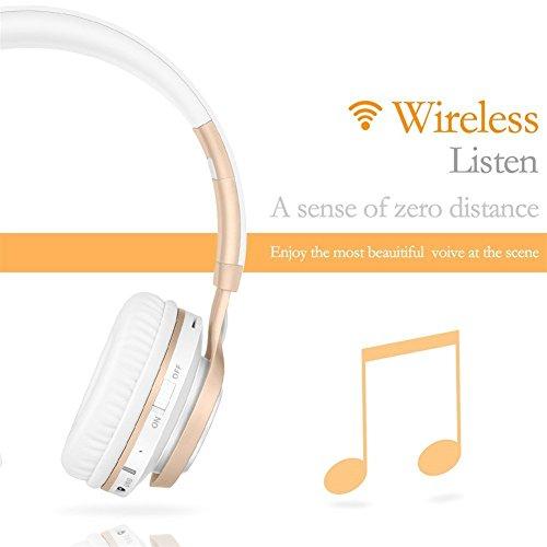 Bluetooth Over-Ear Kopfhörer, EONANT 4 in 1 BT-08 4.0 Bluetooth Wireless Headset Faltbarer Kopfhörer mit Mikrofon mit Mikrofon / FM / TF Karte / AUX für PC TV Smart Phones & Tablets (White-Gold) - 6