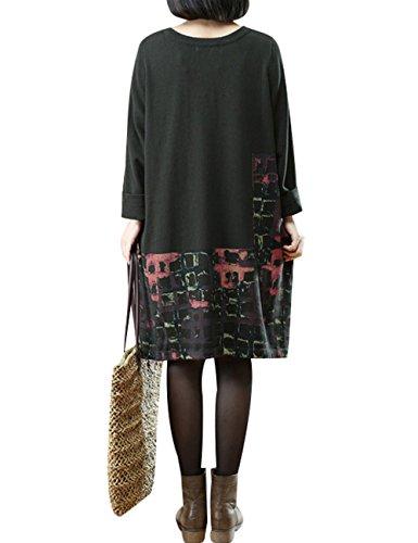 Youlee Donna Plaid Manica lunga Maglione lavorato a maglia Vestito Verde scuro