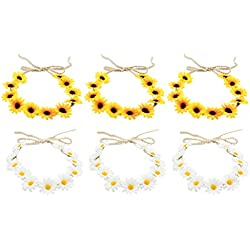 Lurrose 12 unids margaritas hechas a mano girasol pelo aro ajustable floral corona nupcial diadema para festivales de boda