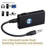 Laduup 2 in 1 Bluetooth Audio Music Streaming Umschaltbarer Sender und Empfänger mit 3,5mm Audio Kabel für Kopfhörer Lautsprecher Radio TV PC Laptop Tablet MP3 / MP4