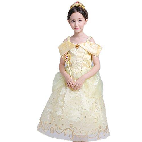 Das beste Gelb Belle Kostüm Kinder Glanz Kleid Mädchen Rollenspiele Weihnachten Verkleidung Karneval Party Halloween Fest (150, Gelb (Für Mädchen Spinnenkönigin Kostüm)