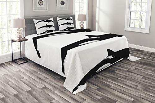 ABAKUHAUS Schwarz-Weiss Tagesdecke Set, Orca Killerwale, Set mit Kissenbezügen Sommerdecke, für Doppelbetten 220 x 220 cm, Weiß und Schwarz -