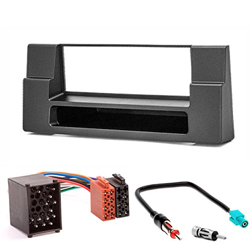 CARAV 11-012-3-67 Radioblende Car 1-DIN in Dash Installation kit Set for BMW 5-Series (E39) 1995-2003; X5 (E53) 1999-2006 with Pocket + ISO and Antenna Adapter Cable Din Installation