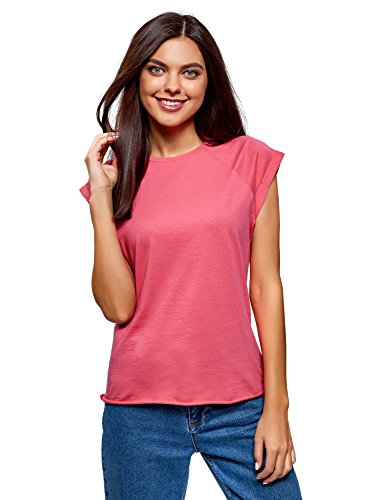 Oodji ultra donna t-shirt in cotone basic, rosa, it 44 / eu 40 / m