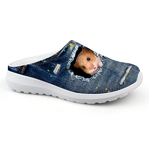 (Nopersonality Denim Hamster Pattern Unisex Garden Sandal Comfort Walking Slippers Slip-on Anti-Slip Clog Shoes House Beach Wear Blau 38 EU)