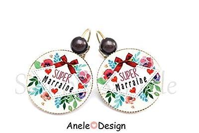 Boucles d'oreilles marraine, Super marraine, rouge vert, fleurs, perles, cadeau marraine