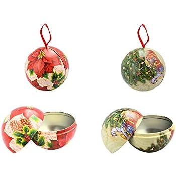 4x Weihnachtskugel zum befüllen Weihnachtsdose 7 cm